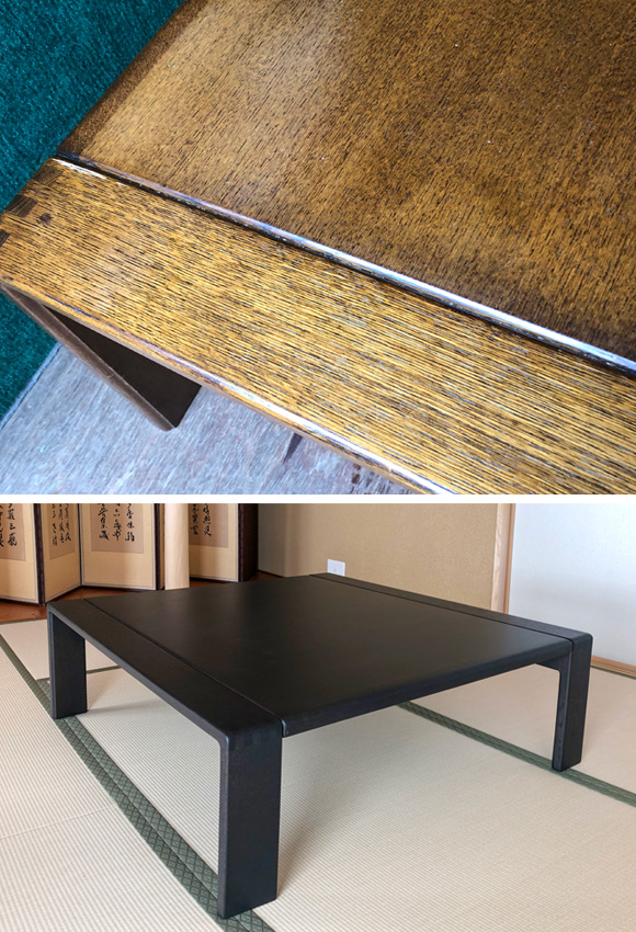 テーブル突板剥離再塗装・塗装変更
